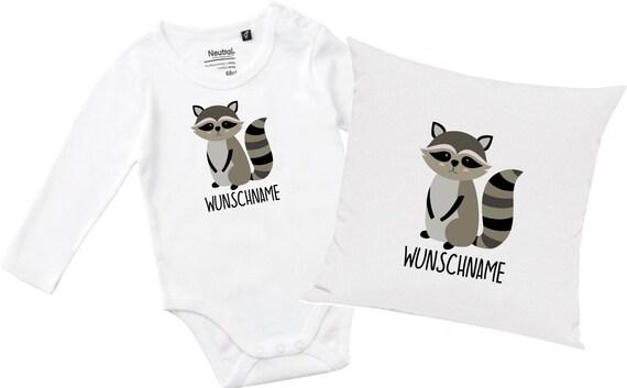 "kleckerliese gift set birth pillow long sleeve bodysuit with animal motif ""wash bear"" fair wear with pillow filling"