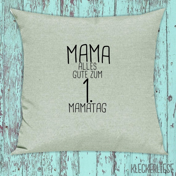 """kleckerliese pillow """"Mom All the best for the 1st Mamatag"""" pillow cover deco sofa with pillow filling Mother's Day"""