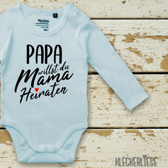 "Long Sleeve Baby Bodybody Bodysuit ""Dad Do You Want Mom Marriage?"" Fair Wear"