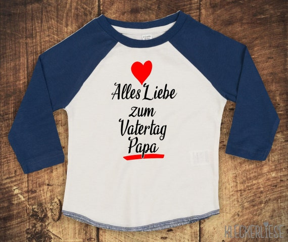 """Kleckerliese Baby Kids T-Shirt Long Sleeve Shirt """"All Love to Father's Day Dad"""" Raglan Sleeve Boys Girl Father's Day"""