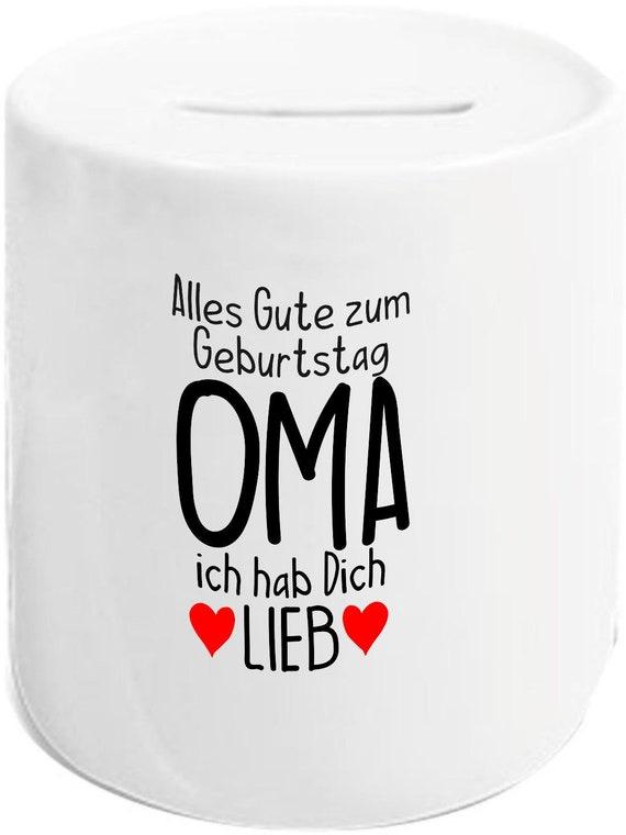"""kleckerliese Spardose Sparschwein """"Alles Gute OMA ich hab Dich Lieb"""" Geldgeschenke Geschenkidee"""
