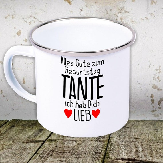 """kleckerliese enamel children's cup teacup cup """"All the best TANTE I love you"""" Camping Camping Tents Retro Mug"""