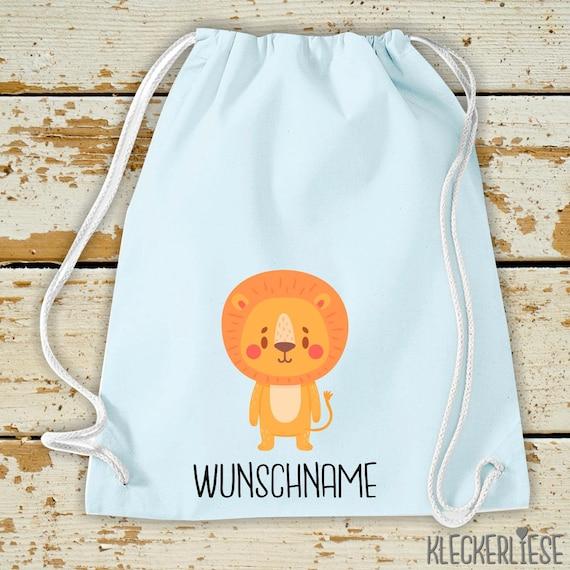 "Kleckerliese Gymsack ""Animal motif with desired name lion"" with desired text or name Backpack Bag Cloth bag Gym bag Carrier bag Enrollment"