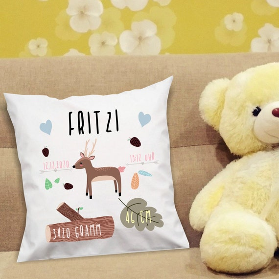 kleckerliese pillow cover deer for birth with desired name, date, time, weight and size cuddly pillow gift baptism