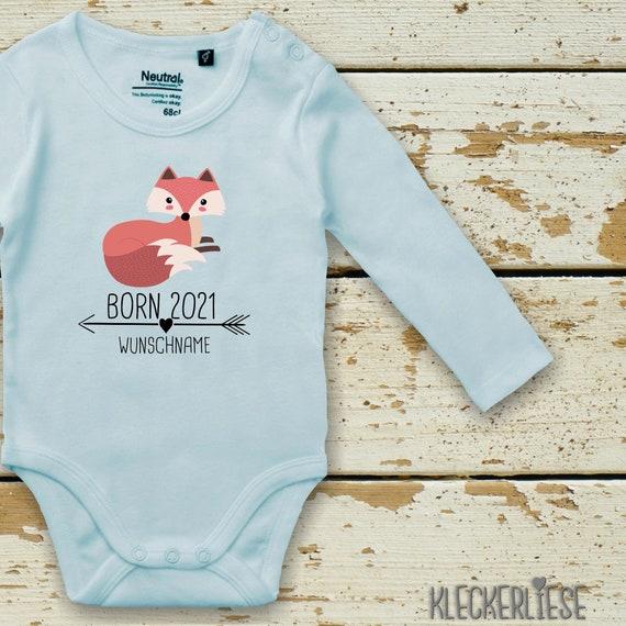 "kleckerliese Long sleeve Babybody ""Born 2021 Animal Motif Arrow Wish Name Name Text Fox"" with desired text or name Baby Body Longsleeve Fair Wear"