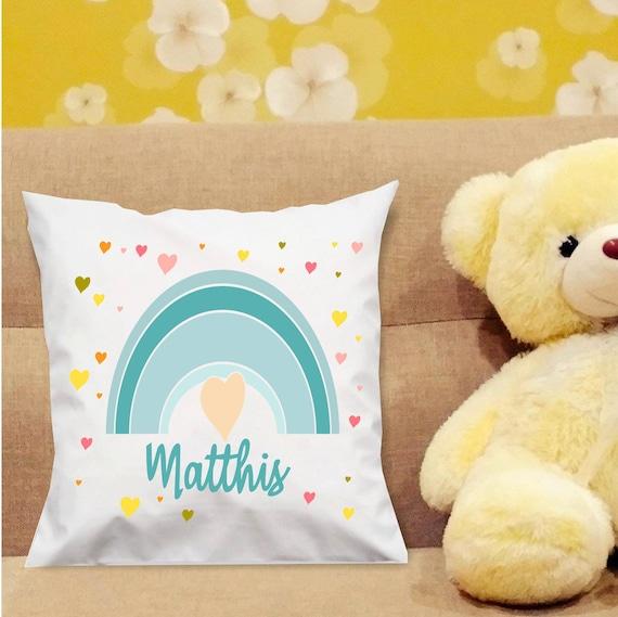 Kissen Bezug Namenskissen Geburt personalisiert Rainbow Regenbogen Baby bedruckt Junge Mädchen Geschenkidee ohne Füllung Taufe