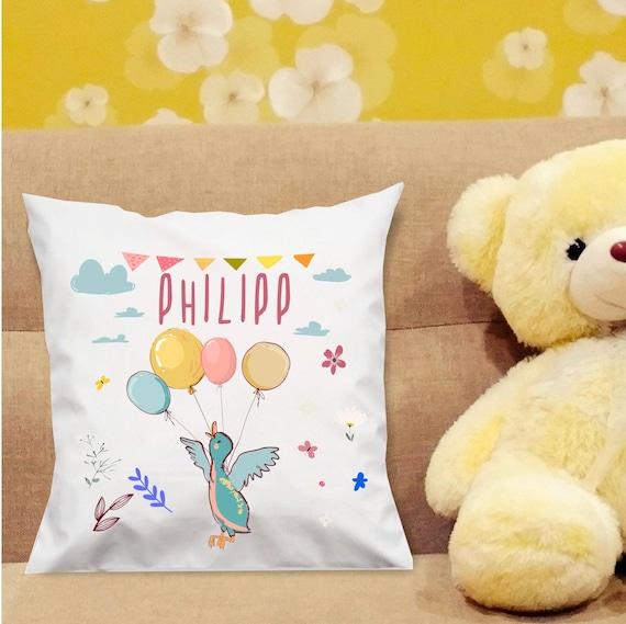 personalisierbarer Kissen Bezug Motiv Ente mit Wunschname, Geburts Daten Kissenhülle Bezug Ballon Tiere Namenskissen Taufe