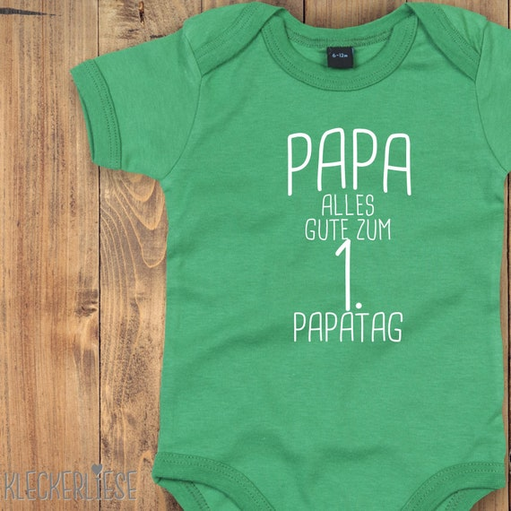 "kleckerliese Baby Bodysuit ""Dad Happy 1st Dad's Day"" Baby Body romper Boy Girl Short Sleeve Father's Day"