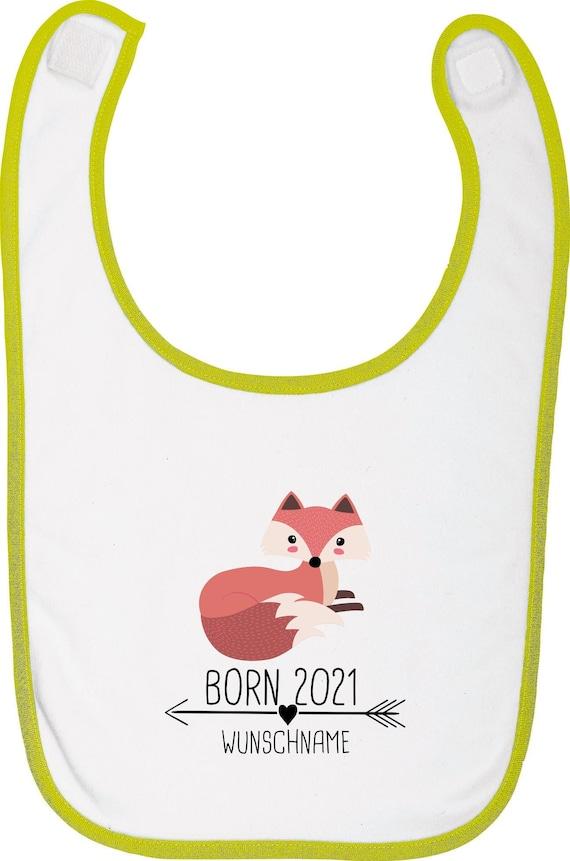 """Kleckerliese Baby Latz """"Born 2021 Tiermotiv Pfeil Wunschname Name Text Fuchs"""" mit Wunschtext Lätzchen Babylatz mit Aufdruck Motiv"""