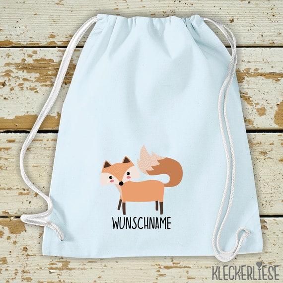 "Kleckerliese Gymsack ""Fuchs mit Wunschnamen"" Backpack Bag Fabric Bag Gym Bag Carrying Bag Kita School School Enrolment"