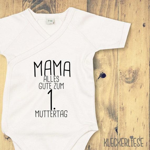 "kleckerliese Wickel Baby Body ""Mama Alles Gute zum 1. Muttertag Anker"" Babybody Strampler Wickelbody Organic Kimono Kurzarm"