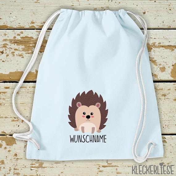 "Kleckerliese Gym bag ""Hedgehog with desired name"" Backpack Bag Cloth bag Gym bag Carrying bag Kita School School"