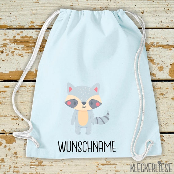 """Kleckerliese Gymsack """"Animal motif with desired name raccoon"""" with desired text or name backpack bag fabric bag gym bag carrying bag"""