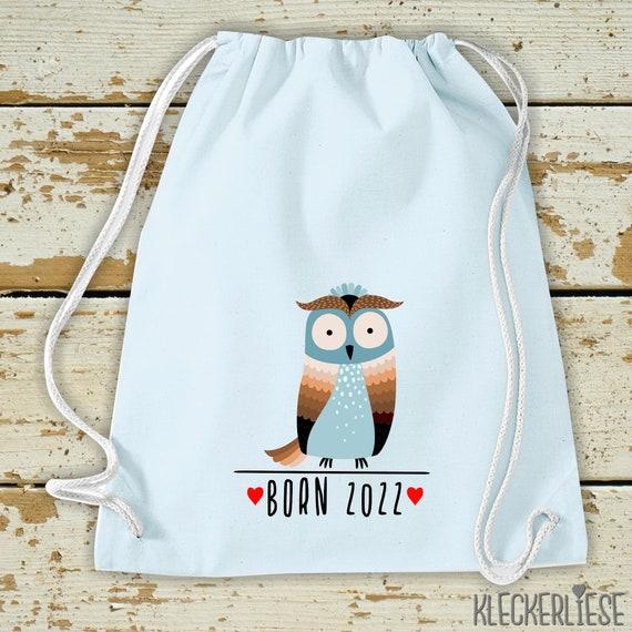 "Kleckerliese Kids Gymsack ""Born 2022 Animal Motif Owl"" Backpack Bag Fabric Bag Gym Bag Carrying Bag"