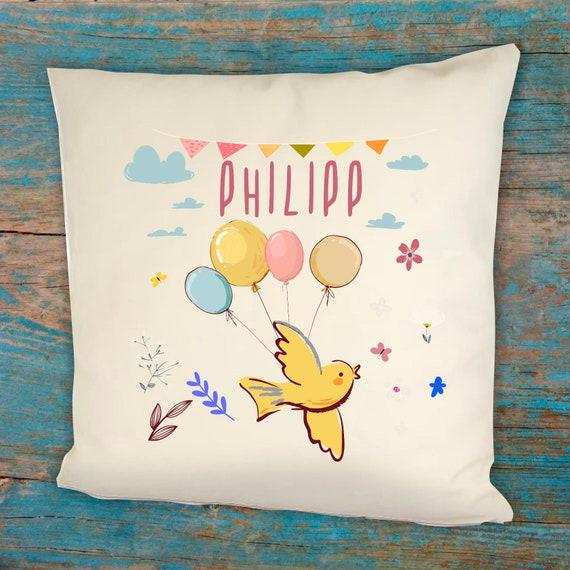 personalisierbarer Kissen Bezug Motiv Vögelchen Vogel mit Wunschname, Geburts Daten Kissenhülle Bezug Ballon Tiere Namenskissen Taufe