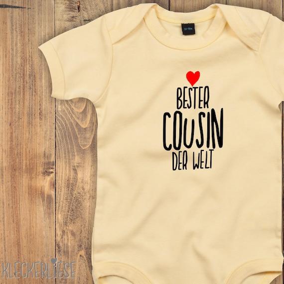 "kleckerliese Baby Body ""Best Cousin in the World"" Babybody Romper Boy Girl Short Sleeve"