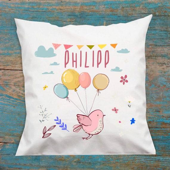 personalisierbarer Kissen Bezug Motiv Vogel Vögelchen mit Wunschname, Geburts Daten Kissenhülle Bezug Ballon Tiere Namenskissen Taufe