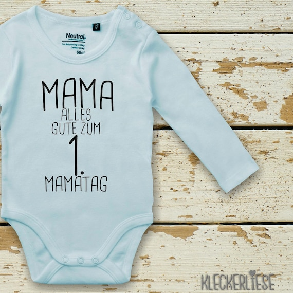 """kleckerliese Langarm Babybody """"Mama Alles Gute zum 1. Mamatag"""" Baby Body Jungen Mädchen Longsleeve Fair Wear Muttertag"""