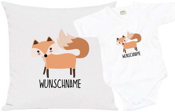 """kleckerliese Geschenkset Geburt Kissen Body mit Tiermotiv """"Fuchs"""" Fair Wear mit Kissenfüllung"""