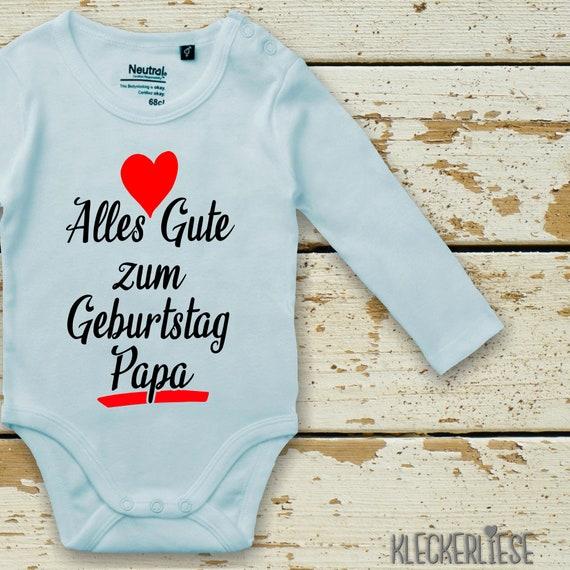 "Long Sleeve Baby Bodybody Bodysuit ""Happy Birthday Dad"" Fair Wear"