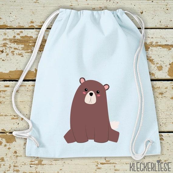 "Kleckerliese Kids Gym bag ""Bear"" Backpack Bag Cloth bag Gym bag Carrying bag"