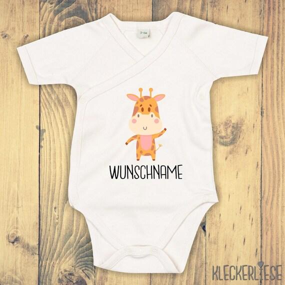 """kleckerliese Wickel Baby Body """"Tiermotiv mit Wunschnamen Giraffe"""" Babybody Strampler Wickelbody Organic Kimono Kurzarm"""
