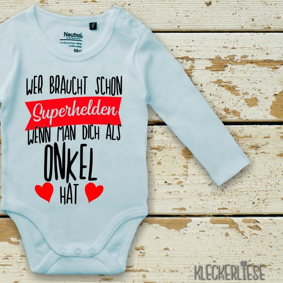 """Long Sleeve Babybody Body """"Who needs superheroes when they have you as an uncle"""" Fair Wear"""