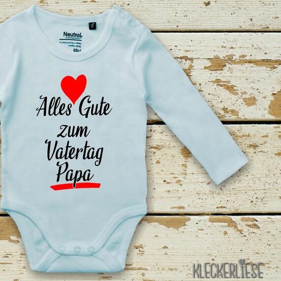 """kleckerliese Langarm Babybody """"Alles Gute zum Vatertag Papa"""" Baby Body Jungen Mädchen Longsleeve Fair Wear"""