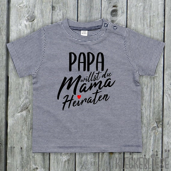 """kleckerliese strip Baby Shirt """"Papa want you to marry Mom"""" Color Blue/White"""