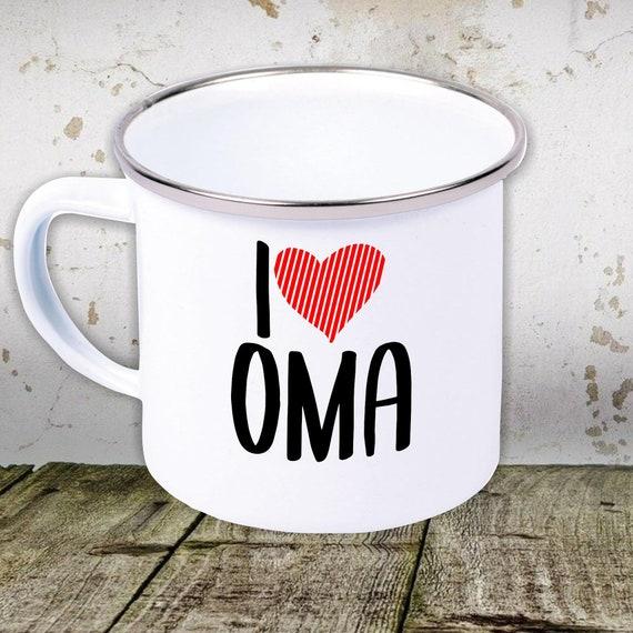 sticky enamel cup I love grandma, grandpa, mom, dad...... Teacup Cup Camping Camping Retro Mug
