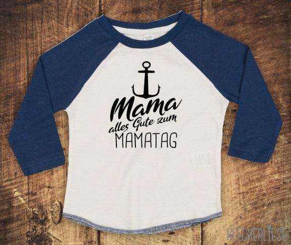 """Kleckerliese Baby Kinder T-Shirt Langarmshirt  """"Mama alles Gute zum Mamatag Anker"""" Raglan-Ärmel Jungen Mädchen Muttertag"""