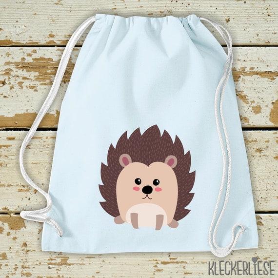 """Kleckerliese Kids Gym Bag """"Hedgehog"""" Backpack Bag Cloth Bag Gym Bag Carrying Bag"""