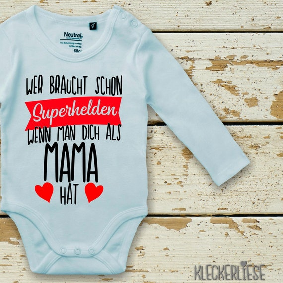 """Long Sleeve Baby Bodybody Bodysuit """"Who Needs Superheroes When You Have You as a Mom"""" Fair Wear"""