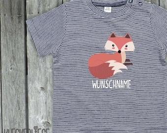"kleckerliese strip baby shirt ""Animal motifs fox wish name nature forest"" boys girl Nicki short sleeve striped"
