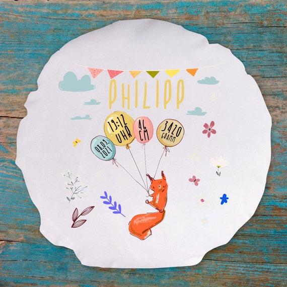 Kissen Bezug personalisierbar zur Geburt Eichhörnchen mit Wunschname, Geburts Daten Kissenhülle Bezug Ballon Tiere Taufe