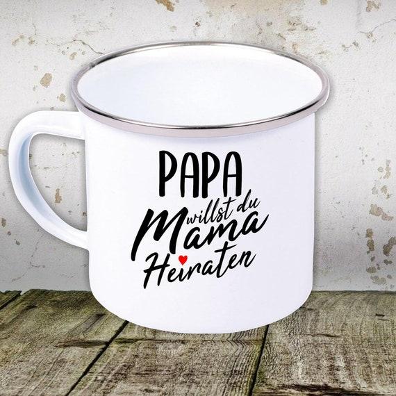 """kleckerliese enamel teacup cup """"marriage proposal"""" camping camping retro mug"""