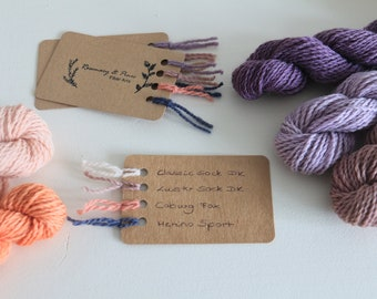 Fiber Cards with yarn samples of all four bases - naturally dyed, organic wool, non-superwash, nylon free