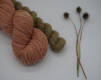 "Sockyarn - Luster Sock DK Set ""Dried Flowers"" 115g - naturally dyed, organic wool, non-superwash, plastic free"