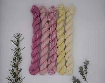 "Mini Skein Set Luster Sock DK 5x 20g ""Signs of Spring"" - naturally dyed, organic wool, non-superwash, plastic free"