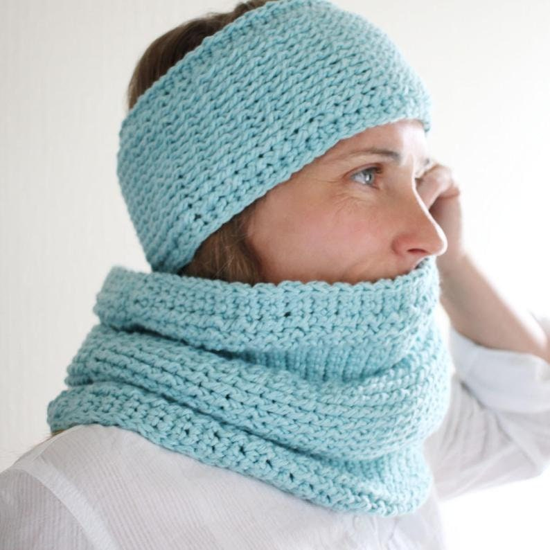 Crochet Patterns  Crochet Cowl Pattern and Headband Pattern  image 0