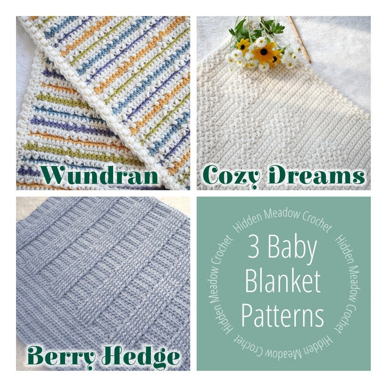 Crochet Pattern Bundle / 3 Blanket Patterns / DIY Baby image 0