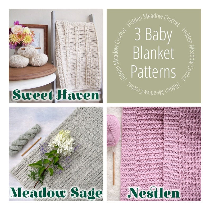 Crochet Pattern Set / 3 Blanket Patterns / DIY Baby Blankets  image 0