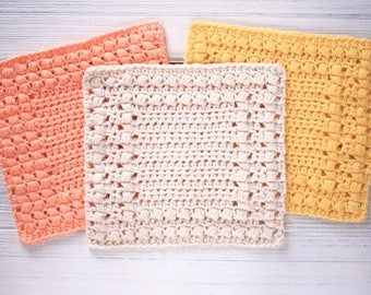 Crochet Pattern - DIY Washcloth - Crochet Dishcloth Pattern - Cottage Square Dishcloths