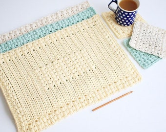 Crochet Placemat Patterns / Crochet Coaster Patterns / Crochet Pattern Set / DIY Housewarming Gift  - Sunny Hollow P108