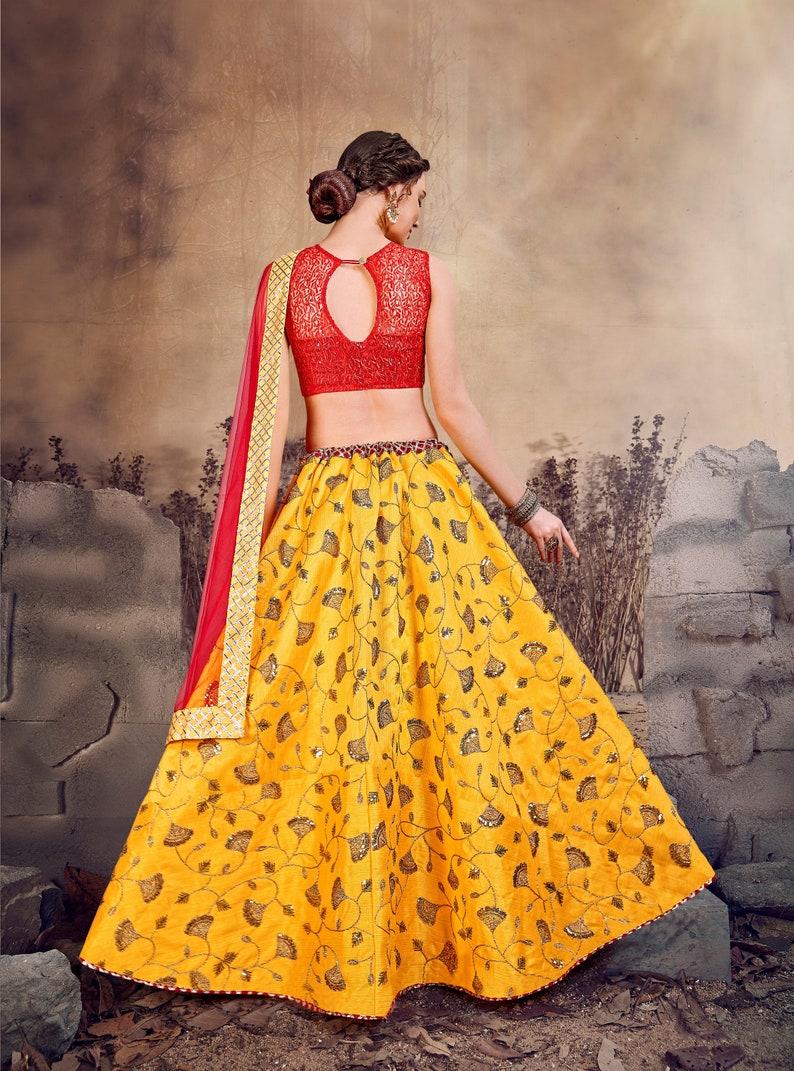 Designer Yellow Red Color Lehenga Choli Lehenga Choli For Women Lehenga Skirts Bollywood Inspired Lehenga Blouse Lehenga Choli Dupatta