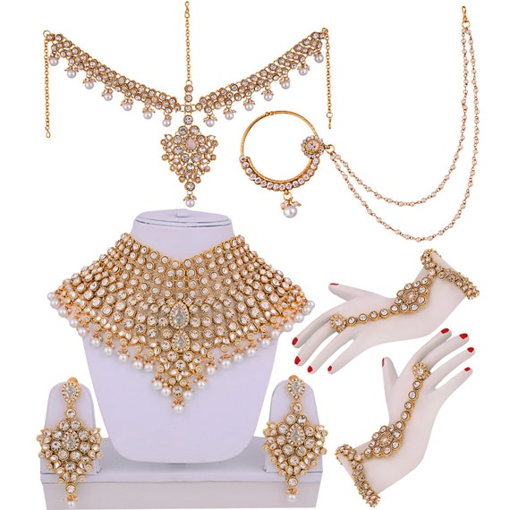 Bollywood Jewelry Jewelry Bridal Dulhan Wedding Jewellery Set Green Red Indian Jewellery Bride Jewelry Set Indian Bridal Jewelry