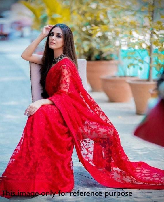 Red Heavy mono net with embrodery work saree and blouse for women,wedding saree,indian saree,designer saree,saree dress,traditional saree