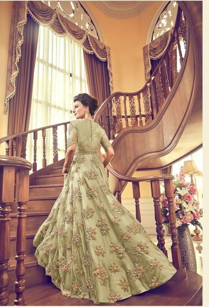 Bollywood Style Designer Pastel Green Color Anarkali Suit Party Wear Gown Style Anarkali Suit Wedding Wear Anarkali Suit
