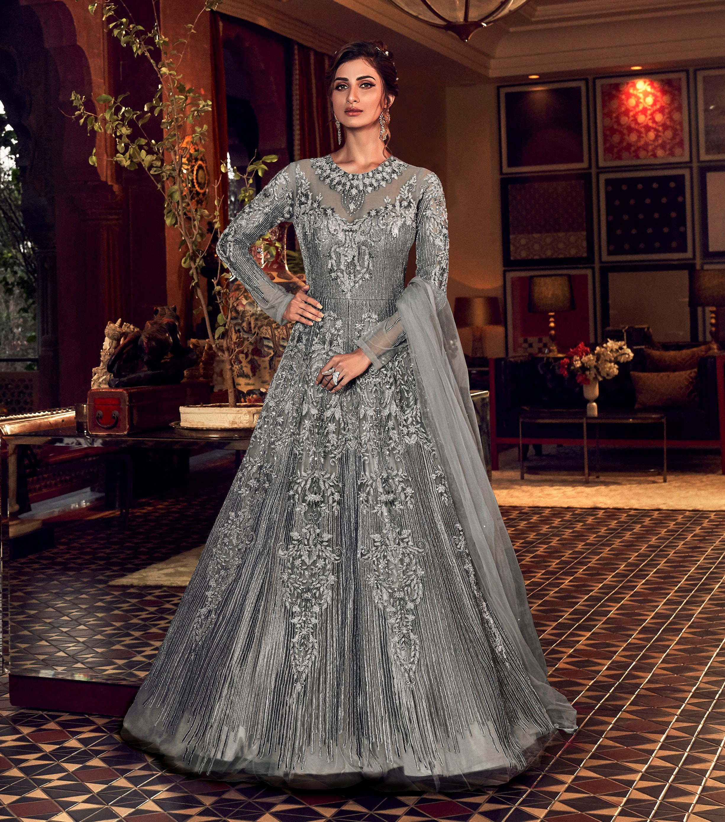 Designer Bridal Gown Indian Wedding Gown Grey Anarkali Suit Heavy Full  Length Gown Bridal Gowns For Women Wedding Dress Gown Pakistani Suits