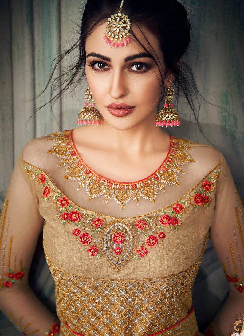 Beige Color Indian Bollywood Style Anarkali Suit Heavy Embroidery Work Designer Anarkali Suit